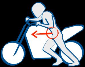 バイクの取り回しは腰で押す