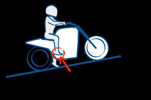 二輪教習の坂道発進はリアブレーキで停止