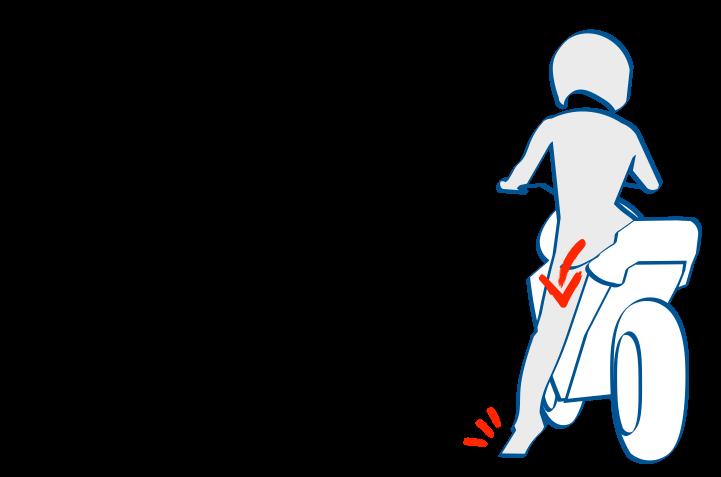 二輪教習おしりごと下げると足着き性向上