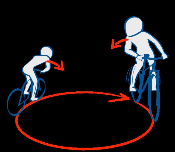二輪教習クランク、自転車でリーンイン