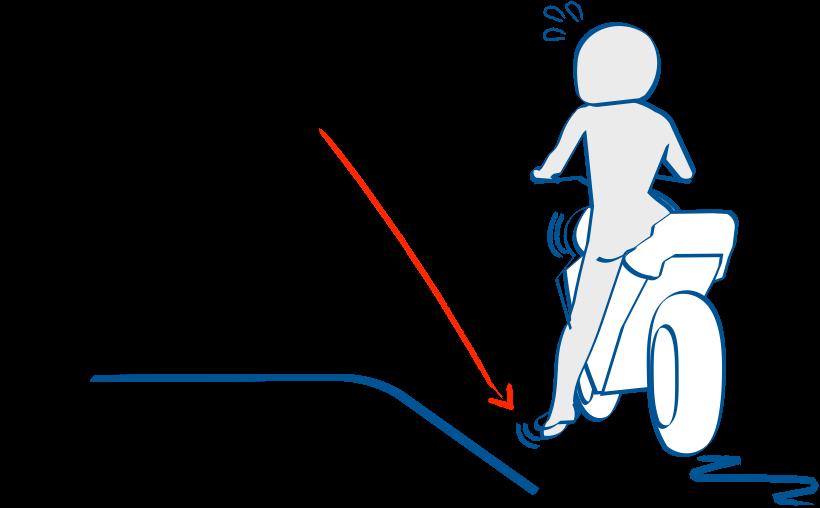 左折時に足を出すと不安定になる