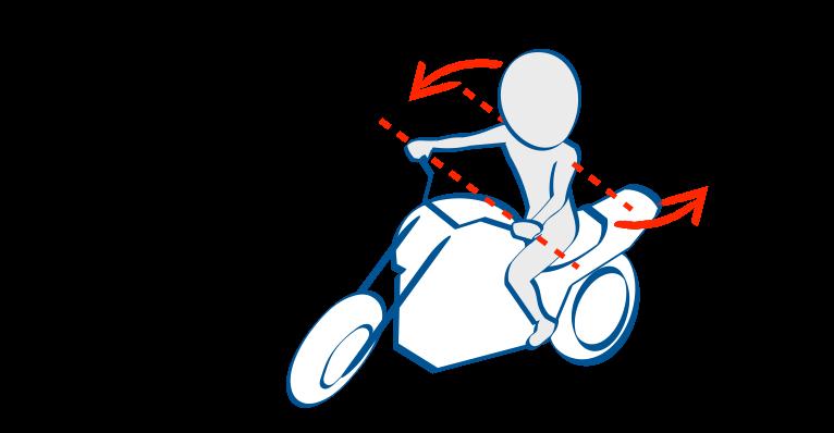 バイクで公道デビュー左折で膨らまないように肩のラインとハンドルバーを並行に