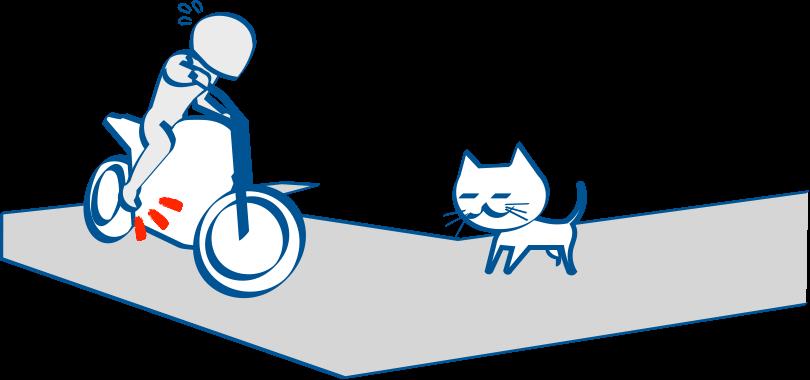 バイクで公道デビュー 曲がりながらのブレーキは後輪ブレーキが原則