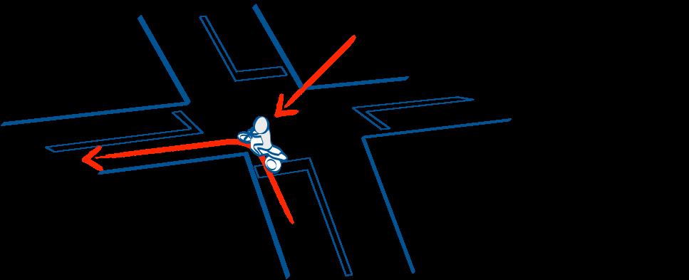 坂道から左折