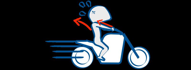 バイクの発進時は前傾しないと体がおいていかれる