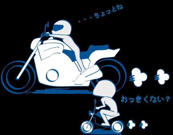 大型バイクは傾けにくい