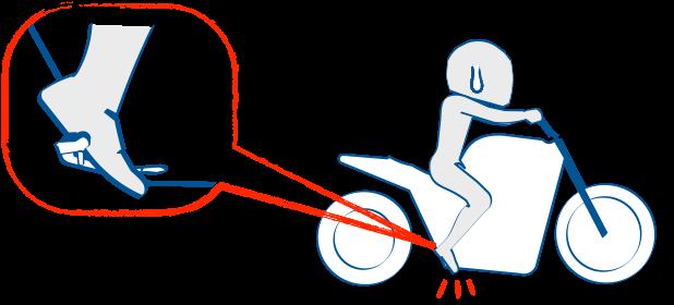 足をステップとブレーキペダルの間に入れると危険