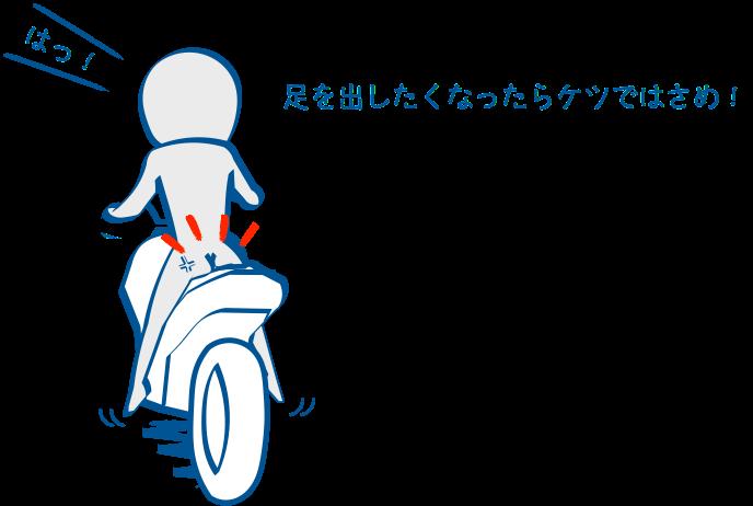 バイクで足をだすときはケツグリップ