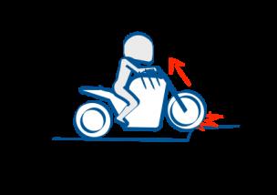 バイクで駐車場の段差を越える