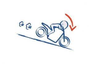 バイクで急な下り