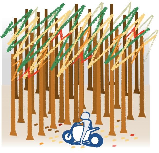 冬の野山はバイクにぴったり