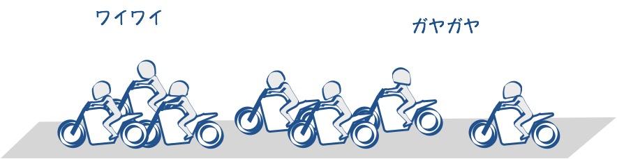 バイクに乗ってみんなでワイワイ走るのは楽しい