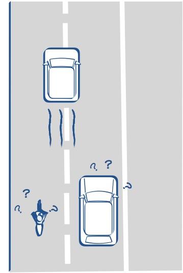 車線をまたぐ車