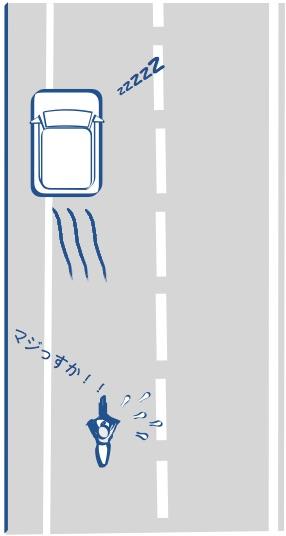 路肩による車は危険