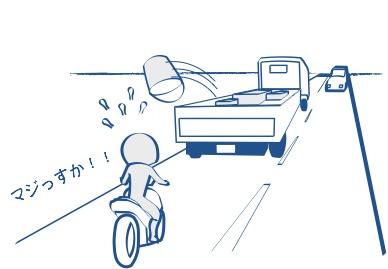 バイクに荷物が当たったらお陀仏