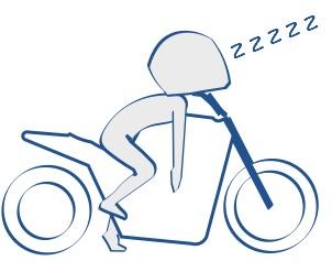 バイクの上で寝る