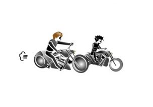 バイクに乗る雨宮兄弟の図