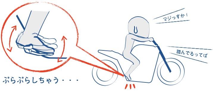 バイクのステップに載せた右足がぷらぷらしている絵の画像