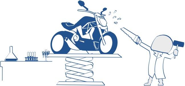ラボでバイクを実験している絵の図