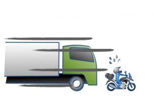 バイクが高速道路であおられないためにという絵の図