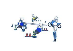二輪教習と教官の絵の図