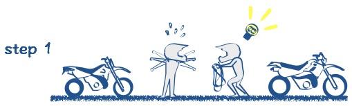 バイクを牽引する絵の図1