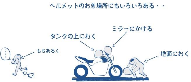 バイクのヘルメットはミラーにかけないの図の絵
