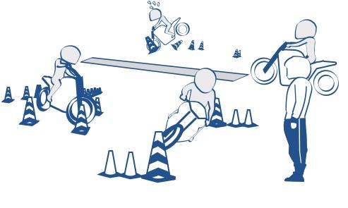 二輪教習ではほとんどの教官は親切の絵の図