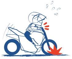 前輪ブレーキをかけ過ぎると握りゴケする絵の図