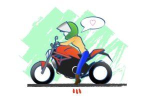 バイクmonsterの足つきの図