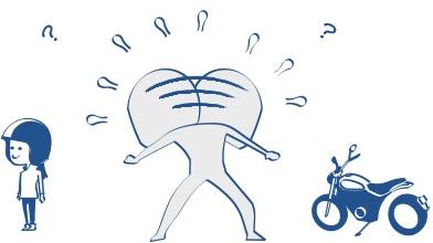バイクのそばにいるバイク 女子には話しかけやすいの図