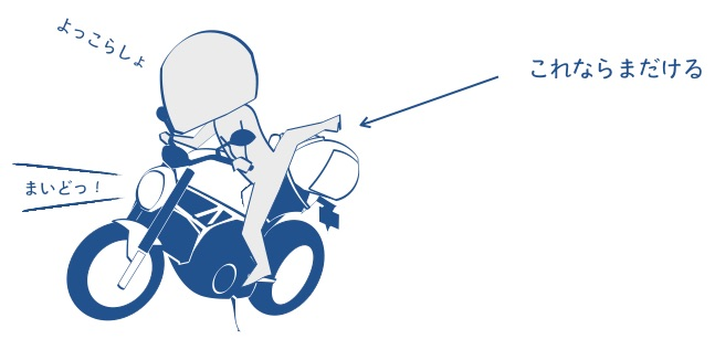 バイクの左ステップに乗ってバイクをまたぐ図