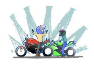 交差点待ちのバイク乗りがかっこいいの図