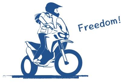 バイクに乗ると好きな道を好きなだけの図