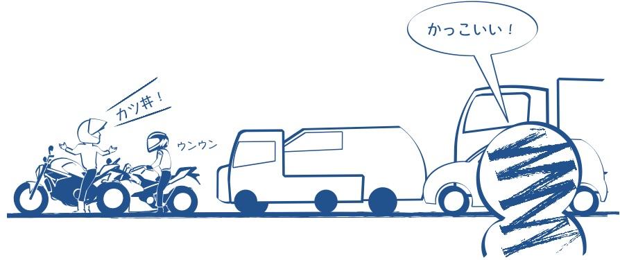 交差点で話し込むバイク乗りの図