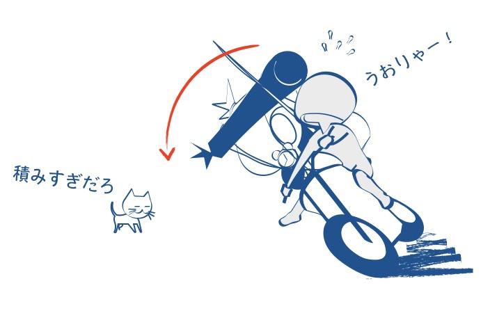 バイクの荷物信号待ちでぐらっとくるの図