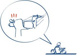 手の小さい人は小指を話すとバイクのウィンカーに指が届くかもの図