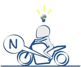 二輪教習、慣れればニュートラルに入るの図