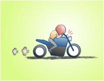 バイクで行動走るときはメーターはチラ見程度の図