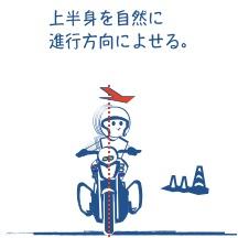 バイクで曲がる図
