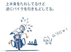 これではバイクは曲がらないの図