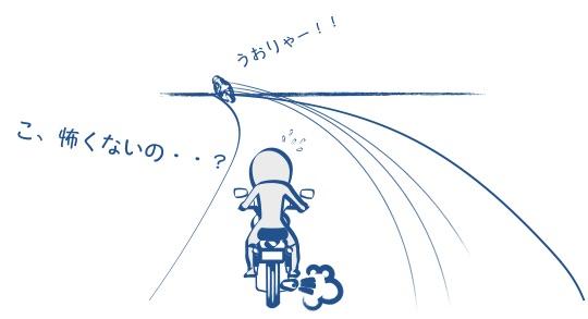 バイクに乗ってる自分は臆病の図