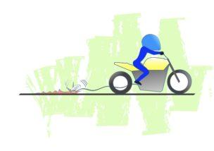 バイクでブレーキを引きずるの図