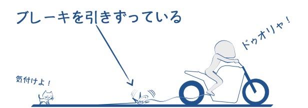 バイクでブレーキを引きずっているの図