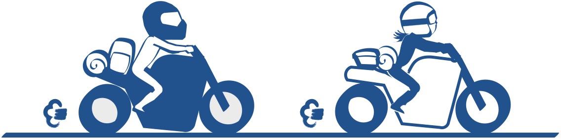 夫婦でバイクの図