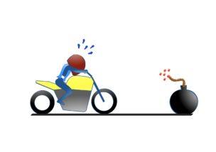 バイクのメータをガン見?の図