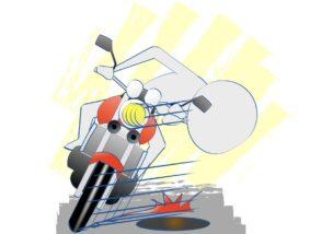 バイクで前輪を滑るところにのせないの図